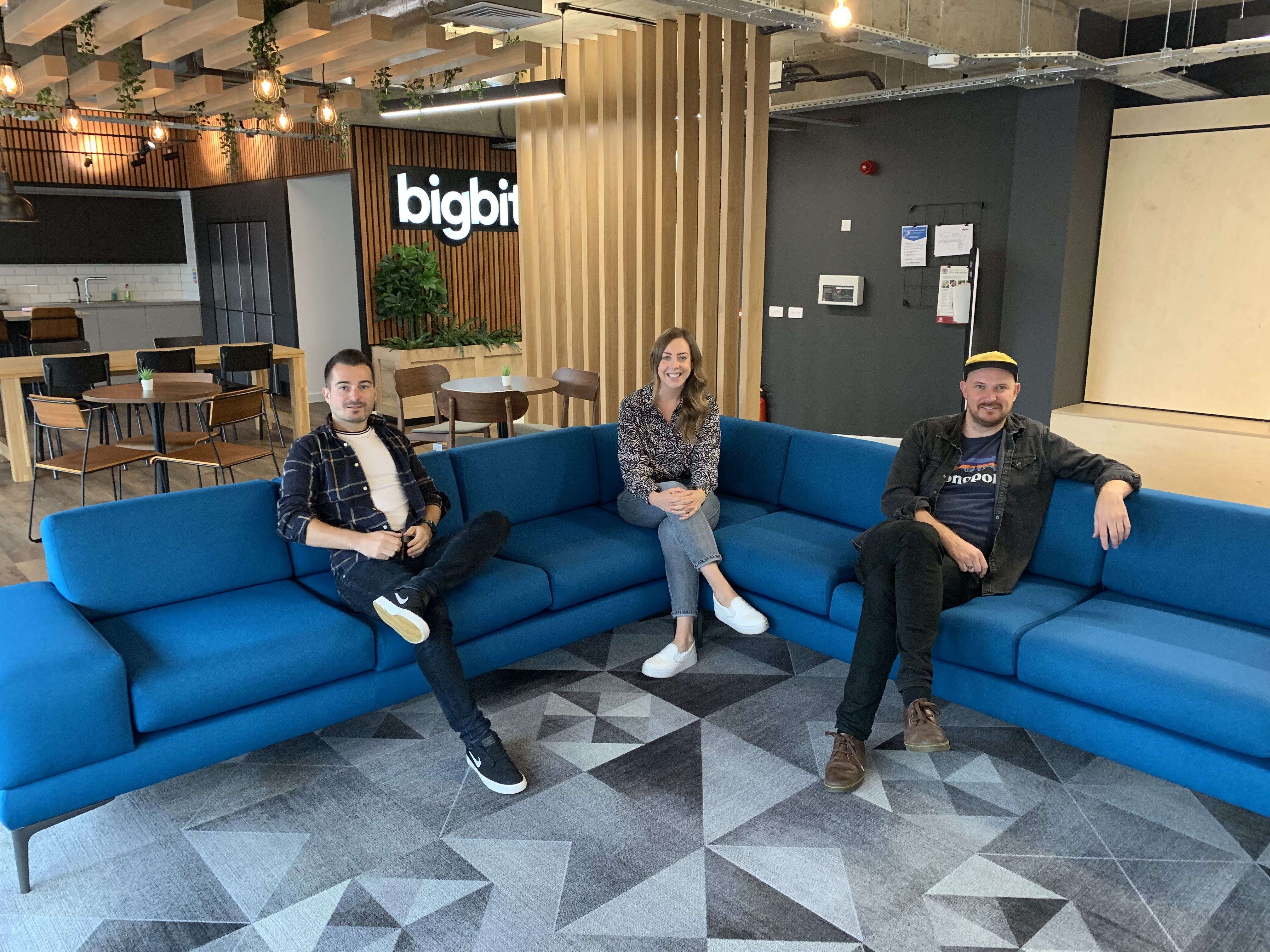 Big Bite's chief engineering officer Mark Goodyear, agency lead Sarah McCormick and chief executive officer Iain McPherson in the new premises on Albert Road.